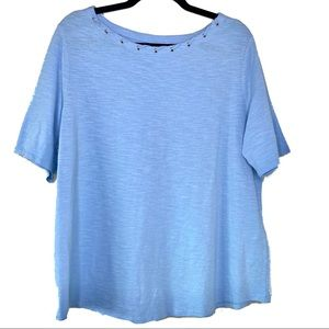 Chico's Light Blue Twisted Neck Line Short Sleeve